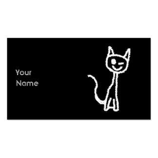 Desenhos animados brancos bonitos do gato. No Cartão De Visita