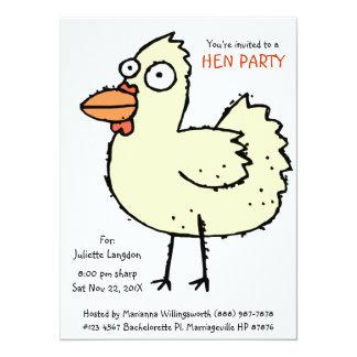 Desenhos animados brancos da galinha da festa de convite 13.97 x 19.05cm