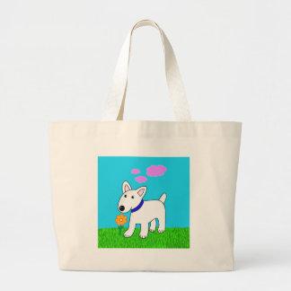 Desenhos animados bull terrier que cheira um bolsa