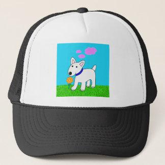 Desenhos animados bull terrier que cheira um boné