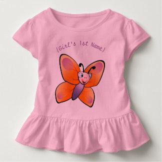 Desenhos animados coloridos bonitos da borboleta camiseta infantil