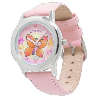 Desenhos animados coloridos bonitos da borboleta relógios de pulso
