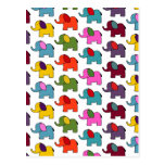 Desenhos animados coloridos bonitos do elefante cartoes postais