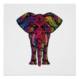 Desenhos animados coloridos do elefante poster perfeito