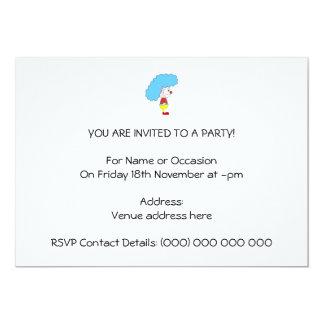 Desenhos animados coloridos do palhaço. Cabelo Convite 12.7 X 17.78cm