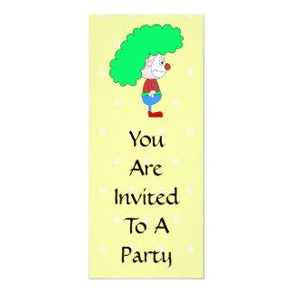 Desenhos animados coloridos do palhaço convite 10.16 x 23.49cm