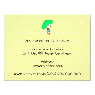 Desenhos animados coloridos do palhaço convite 10.79 x 13.97cm