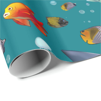 Desenhos animados coloridos dos peixes de água papel de presente