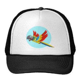 Desenhos animados coloridos felizes do papagaio boné