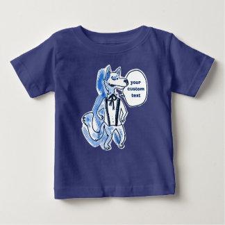 desenhos animados consideráveis engraçados do lobo camiseta para bebê