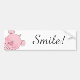Desenhos animados cor-de-rosa alegres do porco adesivo para carro