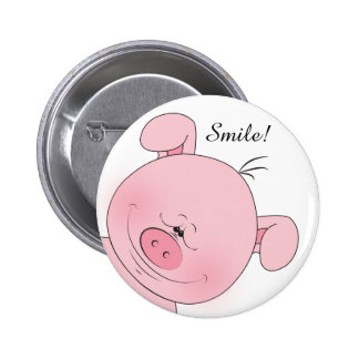 Desenhos animados cor-de-rosa alegres do porco bóton redondo 5.08cm