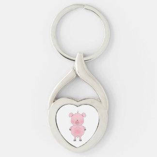 Desenhos animados cor-de-rosa alegres do porco chaveiro
