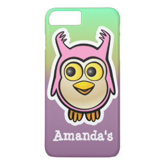 Desenhos animados cor-de-rosa bonitos da coruja do capa iPhone 7 plus