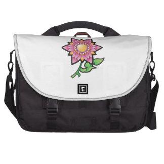 Desenhos animados cor-de-rosa da flor maleta para laptop