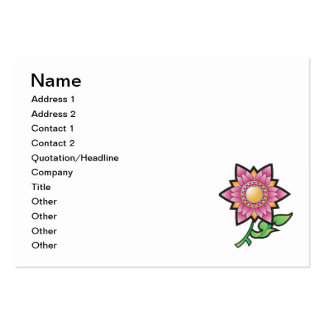 Desenhos animados cor-de-rosa da flor cartões de visita