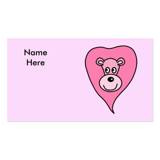 Desenhos animados cor-de-rosa do leão cartao de visita