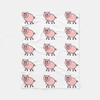 Desenhos animados cor-de-rosa do porco cobertor de velo