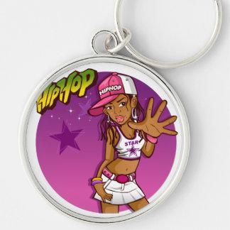 Desenhos animados cor-de-rosa e roxos do rapper chaveiro redondo na cor prata