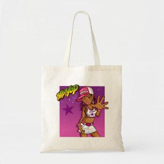 Desenhos animados cor-de-rosa e roxos do rapper sacola tote budget