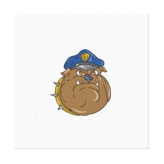 Desenhos animados da cabeça do polícia do buldogue impressão em tela