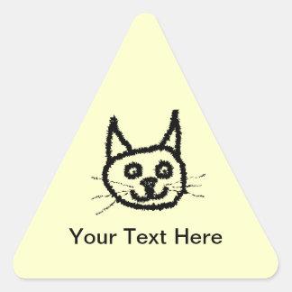 Desenhos animados da cara do gato preto. No creme Adesivo Triangular