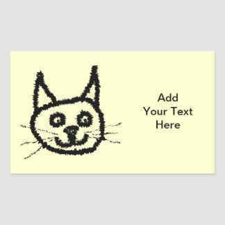 Desenhos animados da cara do gato preto. No creme Adesivo Retangular