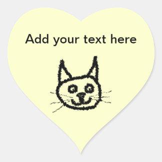 Desenhos animados da cara do gato preto. No creme Adesivos De Corações