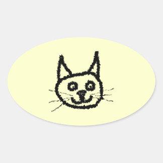 Desenhos animados da cara do gato preto. No creme Adesivo Oval