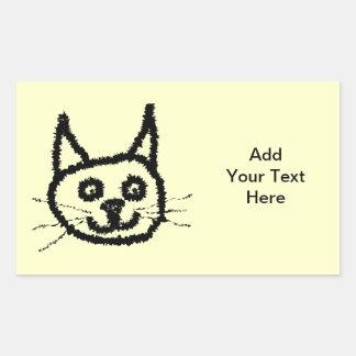 Desenhos animados da cara do gato preto No creme Adesivos Retangular