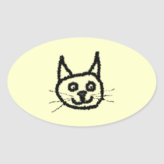 Desenhos animados da cara do gato preto. No creme Adesivos Em Formato Oval