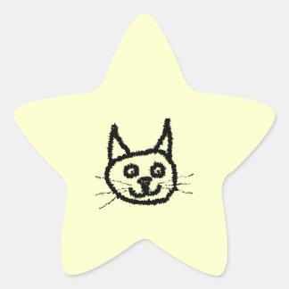 Desenhos animados da cara do gato preto. No creme Adesivo Em Forma De Estrela