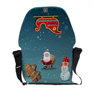 Desenhos animados da cena do feriado de inverno bolsas mensageiro