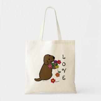 Desenhos animados da cesta da flor do filhote de c sacola tote budget