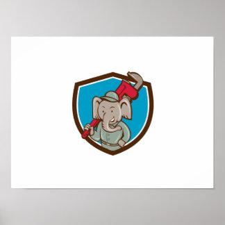 Desenhos animados da crista da chave de macaco do pôster