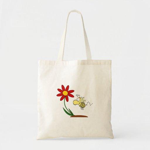 Desenhos animados da flor e da abelha bolsas