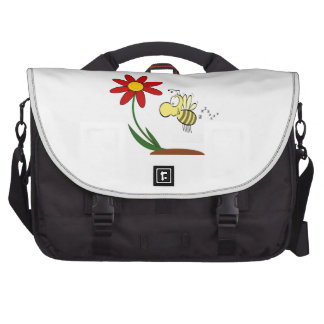 Desenhos animados da flor e da abelha pasta para laptop