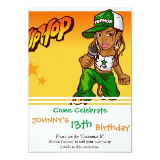 desenhos animados da laranja do verde da menina do convite 12.7 x 17.78cm