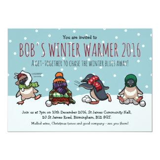 Desenhos animados da luta do Snowball do pinguim Convite 12.7 X 17.78cm