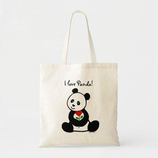 Desenhos animados da panda e uma flor do coração bolsas de lona