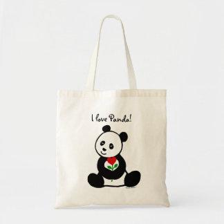 Desenhos animados da panda e uma flor do coração sacola tote budget