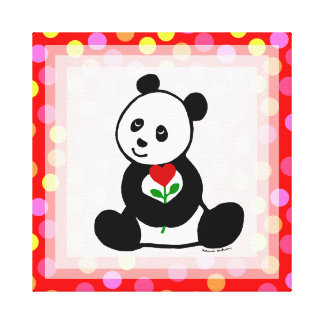 Desenhos animados da panda e umas bolinhas da flor impressão em canvas