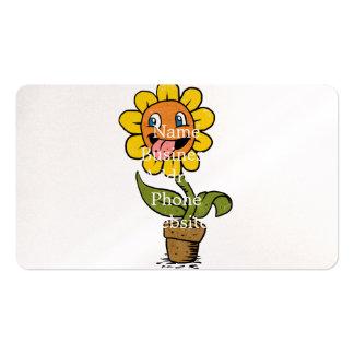 desenhos animados de sorriso da flor cartão de visita