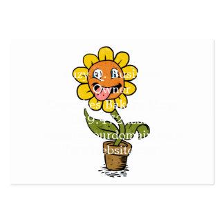 desenhos animados de sorriso da flor cartão de visita grande