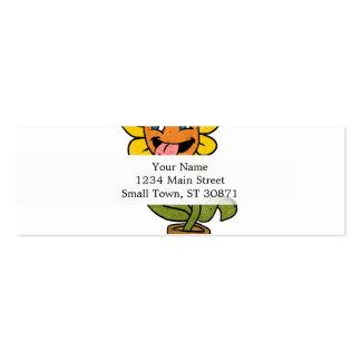 desenhos animados de sorriso da flor cartão de visita skinny