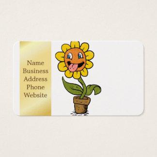 desenhos animados de sorriso da flor cartão de visitas