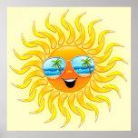 Desenhos animados de Sun do verão com poster dos ó