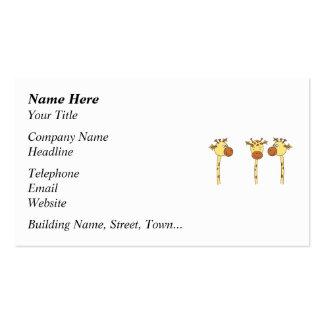 Desenhos animados de três girafas cartão de visita