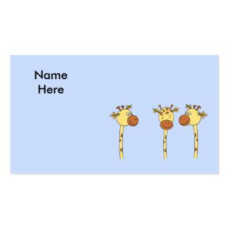 Desenhos animados de três girafas cartoes de visita