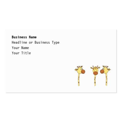 Desenhos animados de três girafas cartoes de visitas